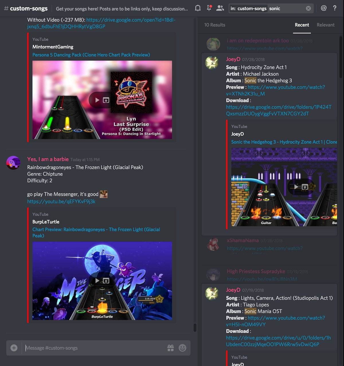 Screenshot of the #custom-songs channel of the official CH Discord