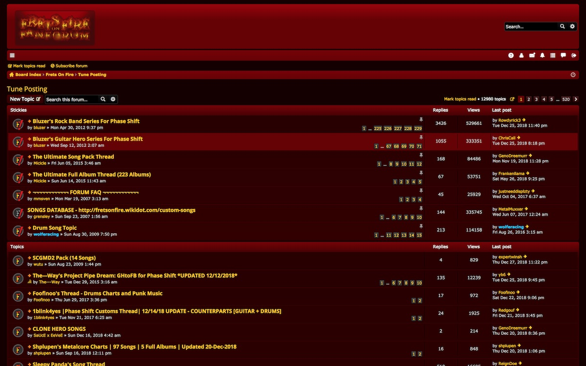 "Screenshot of the ""Tune Posting"" section of the Frets on Fire forums"