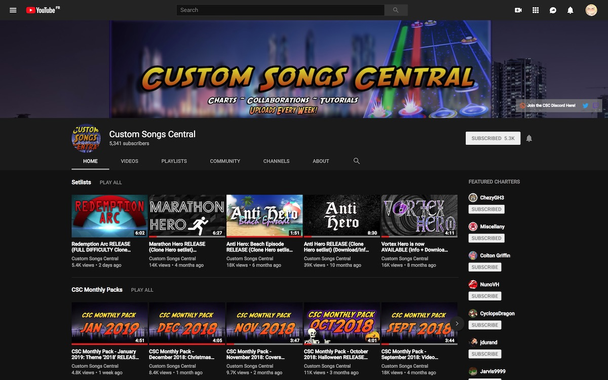 "Screenshot of the YouTube channel of the ""Custom Songs Central"" collective"
